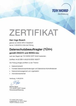 Zertifikat Datenschutzbeauftragter TÜV