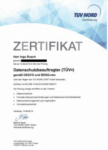 Zertifikat Datenschutzbeauftragter Tüv Datenschutz Beratung Köln