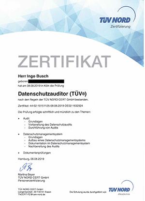 Zertifikat Datenschutzauditor TÜV